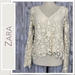 Zara Trafaluc Collection Ivory Floral Crochet Top